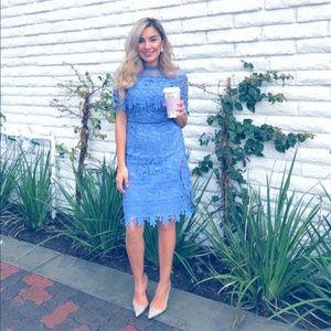Chi Chi London Lace Dress - Cornflower Blue